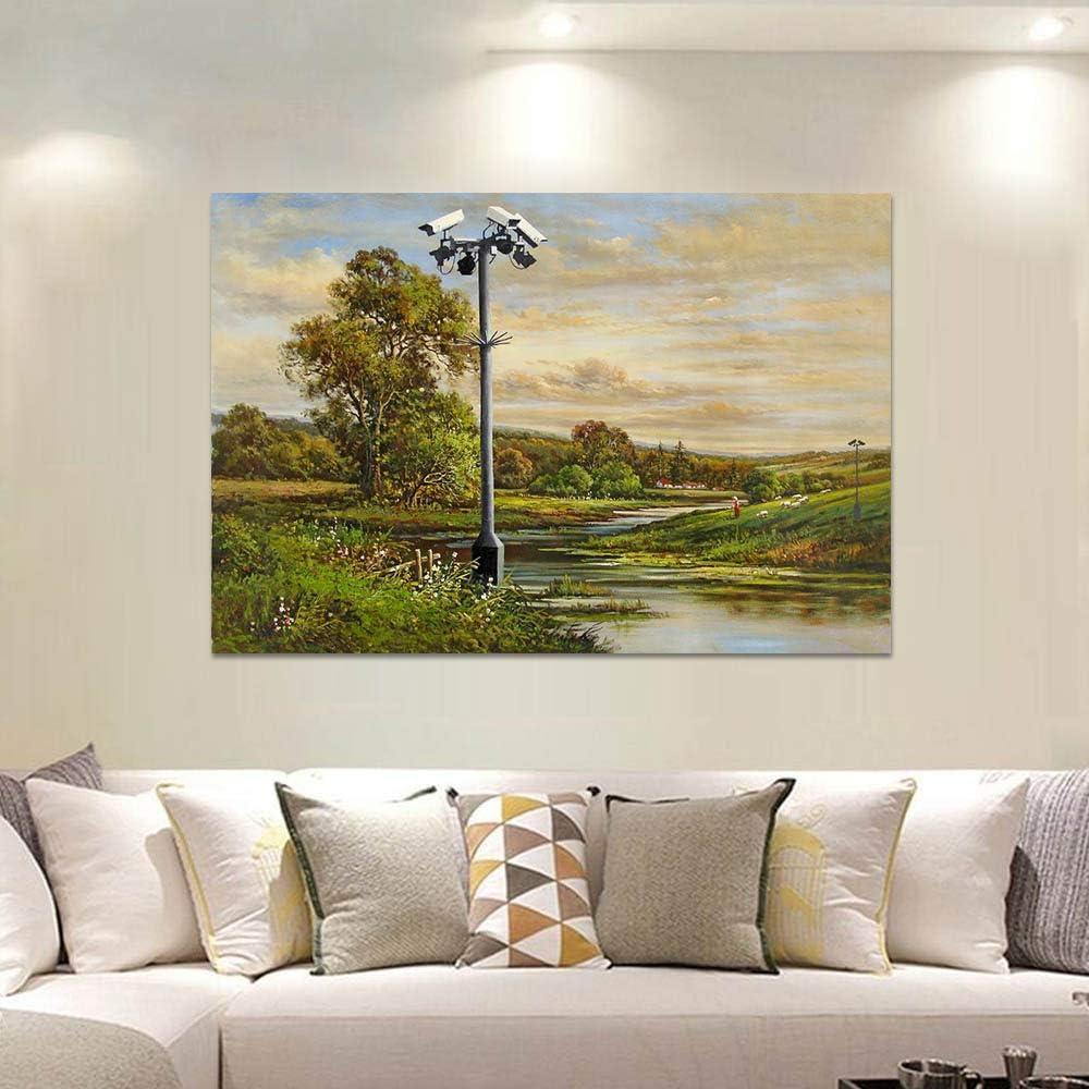 Cuadro de lienzo de pintura de árbol de arte abstracto pared grande en la sala de estar decoración paisaje colorido (sin marco) A2 30x40CM