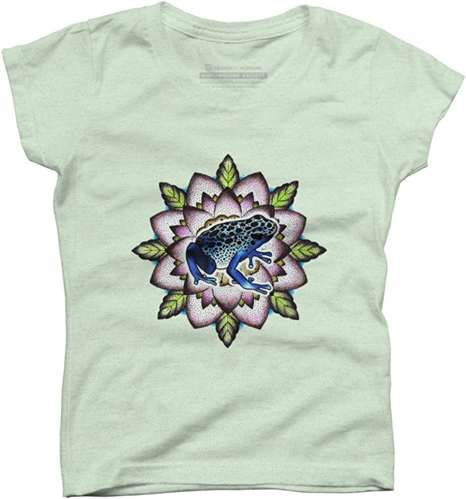 Design By Humans Blue frog Girls Youth Graphic T Shirt