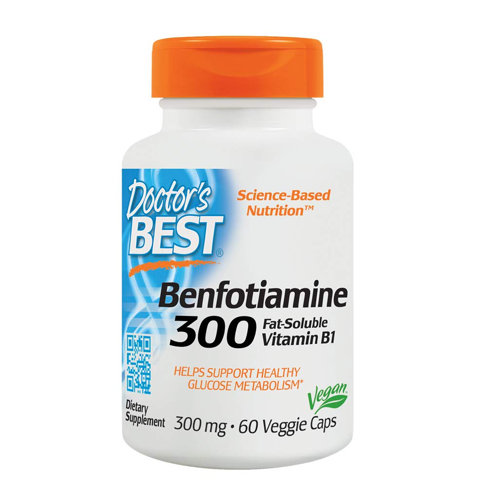 Doctor's Best Benfotiamine, Non-GMO, Vegan, Gluten Free, Soy Free, Helps Maintain Blood Sugar Levels, 300 mg, 60 Veggie Caps
