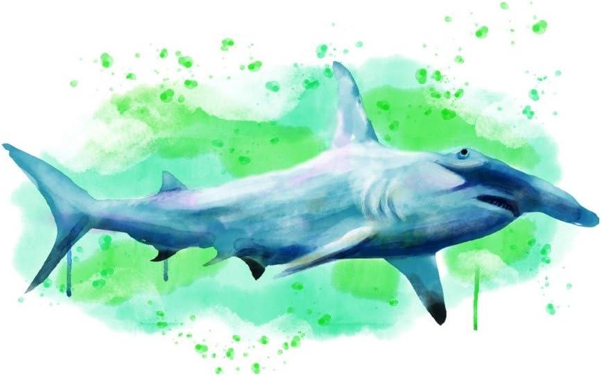 Hammerhead Shark Surfboard Wall Art Hand painted handcrafted wooden sea fish