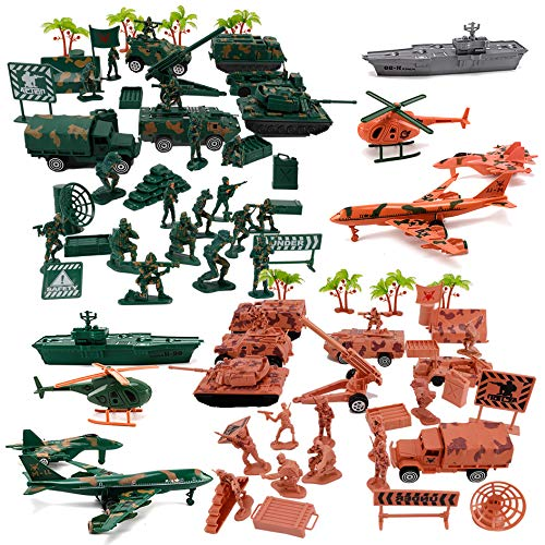 - Liberty Imports Deluxe Action Figures Army Men Soldier Military Playset with Scaled Vehicles (73 pcs)