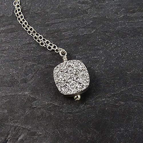 Silver Druzy Geode Square Sterling Silver Necklace Jewelry Gift for Women - 17
