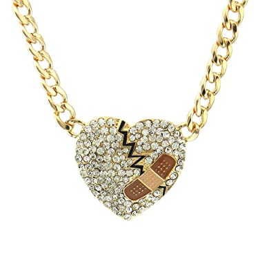 Crystal pave mended heart pendant cuban curb chain necklace Valentines day bandaid heart broken heart