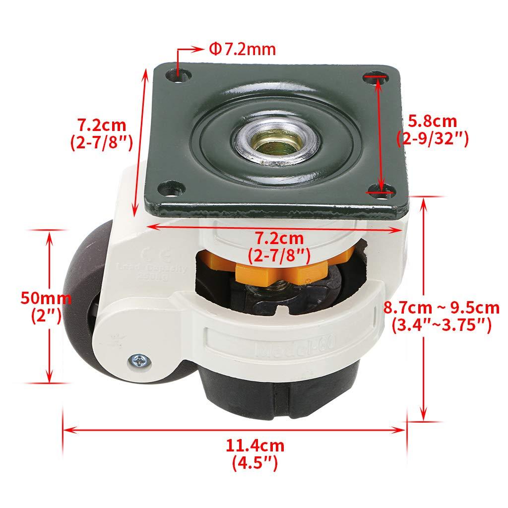 banco de trabajo 4 ruedas retr/áctiles para m/áquina de nivelaci/ón GD-60F mesa de soldadura Skelang capacidad de carga 250 kg por rueda ruedas niveladoras para muebles resistentes