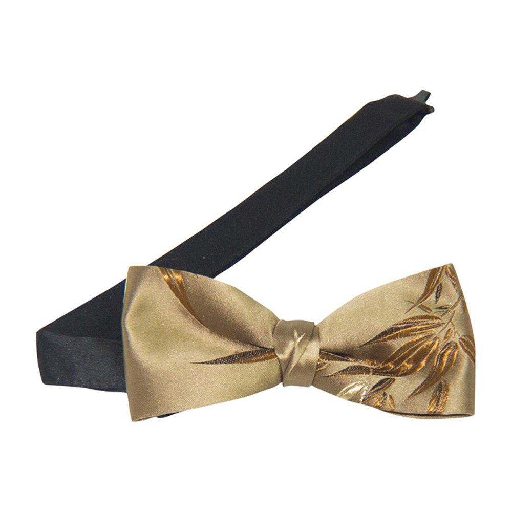 Silk gold leaf banded bow tie