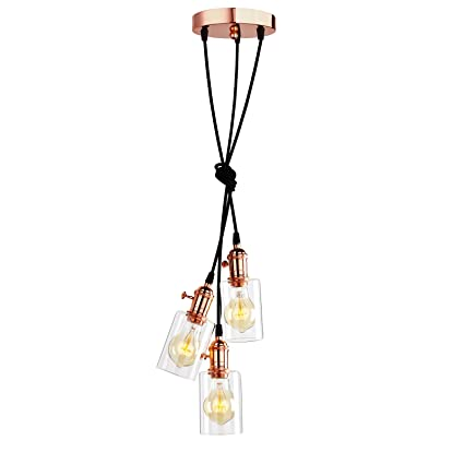 new product 3b66a 395f6 Pathson Vintage Edison 3 Lights Hanging Lights Fitting, Copper Three  Ceiling Light Fixture Chandelier for Island Living Room Dinning Room  Bedroom ...