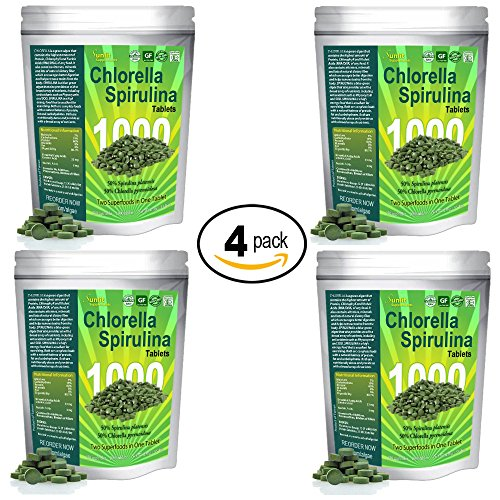 Chlorella Spirulina 50/50-Mega-pack 1000 Tablets! Best organic raw non-GMO Green Superfood (4-Pack) by Sunlit Best Green Organics