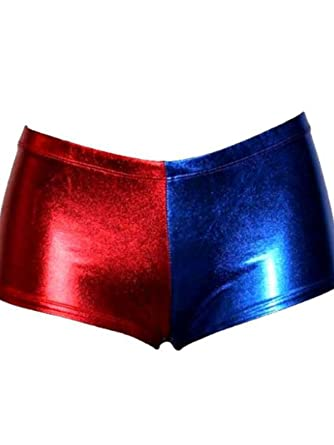 Women Ladies Halloween Cosplay Harley Quinn Shorts Suicide Squad Shiny HOT Pants