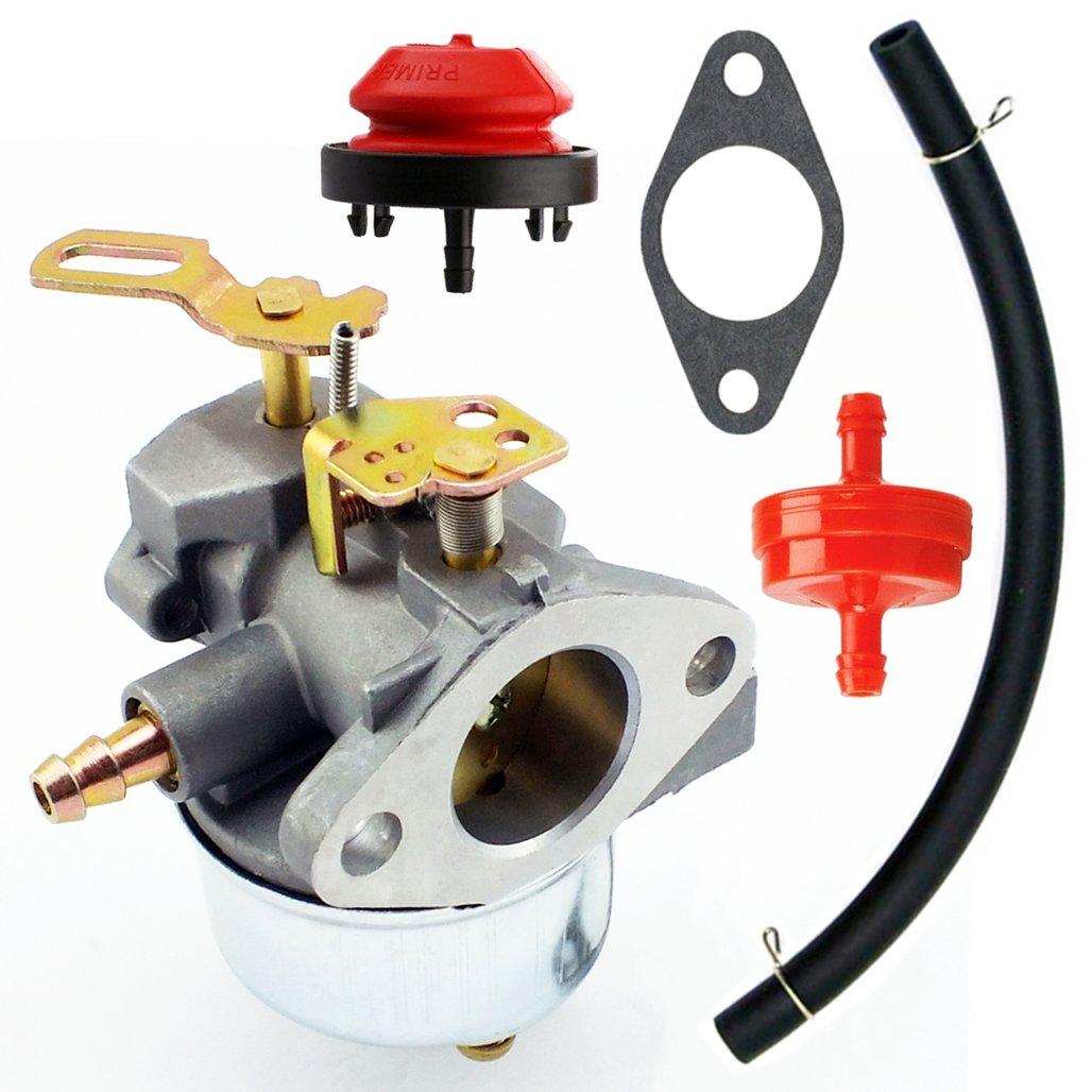 Yingshop Adjustable Carburetor with Gasket Fuel Filte Line Kit for Tecumseh 640349 640052 640054 640058 640058A HMSK80 HMSK85 HMSK90 HMSK100 HSMK110 LH318A LH358SA 8HP 9HP 10HP Snowblower Generato Chipper Shredder Carb