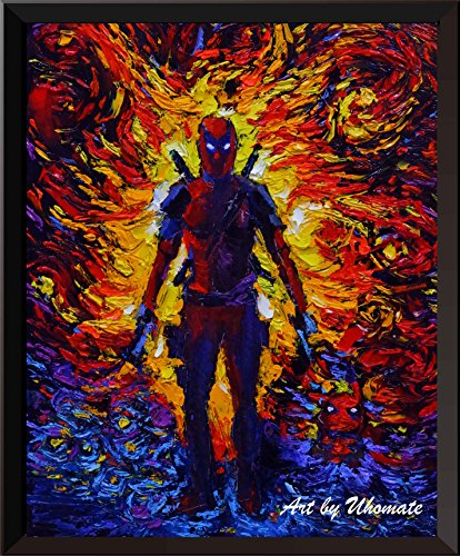 Uhomate Deadpool Wall Decor Vincent Van Gogh Starry Night Posters Home Canvas Wall Art Anniversary Gifts Baby Gift Nursery Decor Living Room Wall Decor A064 (8X10)