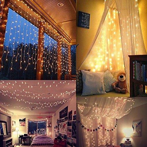 Window Curtain String Lights, 9.8 × 9.8 ft USB Port 300 LED Starry Fairy Light for Wedding, Bedroom, Bed Canopy, Garden, Patio, Outdoor Indoor?Warm?