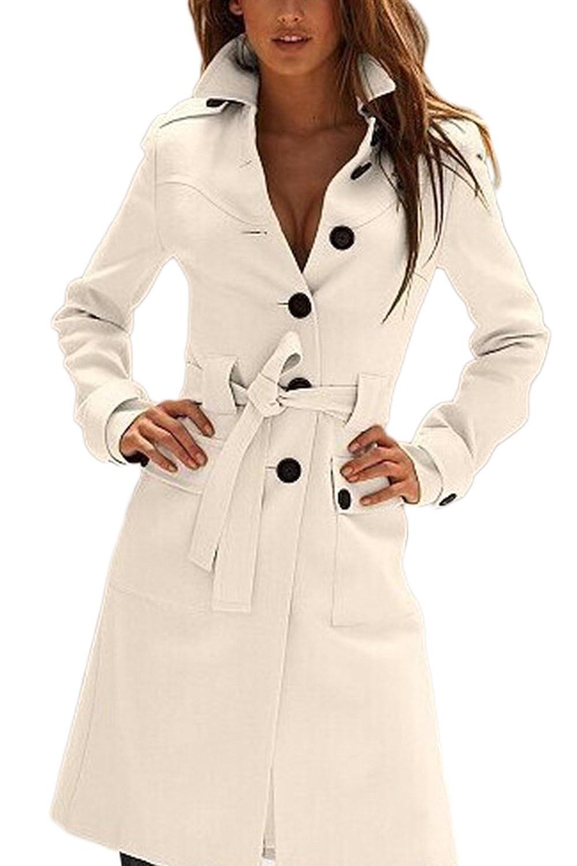 Amazon.com: Women Elegant Single Breasted Belted Tunic Wool Outerwear Coats Trenchcoats: Clothing
