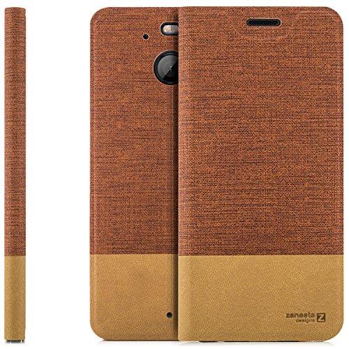 Funda HTC 10 EVO Case Cubierta Carcasa Flip Cover Tapa Delantera con Billetera para Tarjetas, Cierre Abatible - Protectora de Alta Calidad | Rojo Marrón
