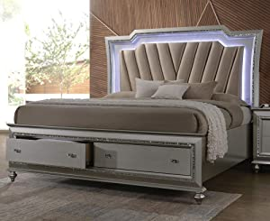 ACME Furniture Kaitlyn Queen Bed with LED Headboard, PU and Champagne