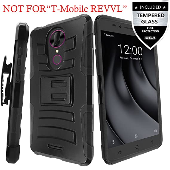 competitive price 15757 49d6e Amazon.com: T-Mobile REVVL Plus Case With Tempered Glass Screen ...