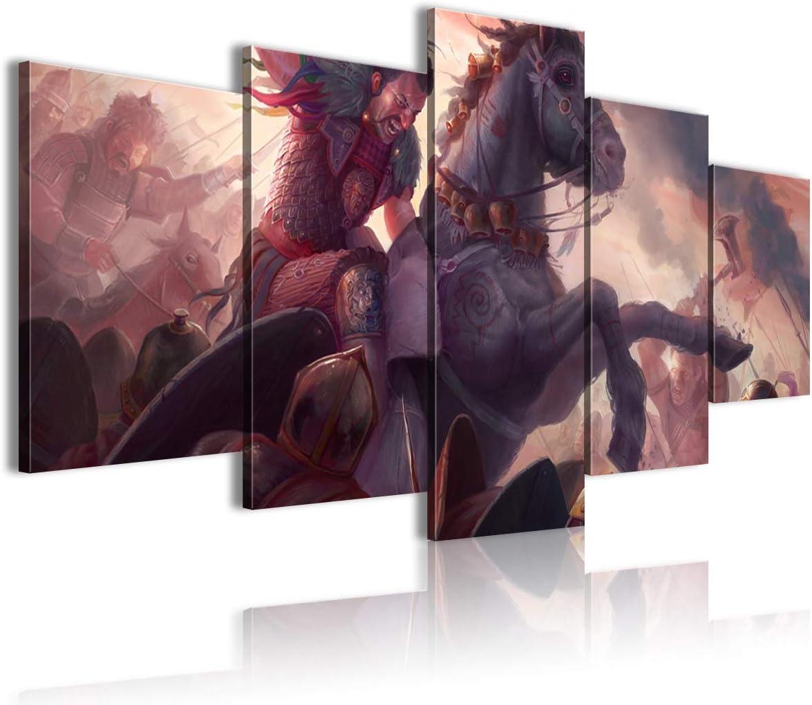 CCBRA Póster artístico de 5 piezas 3D lienzo cuadro caballo guerrero ambiente tienda tienda 150x80cm sin marco