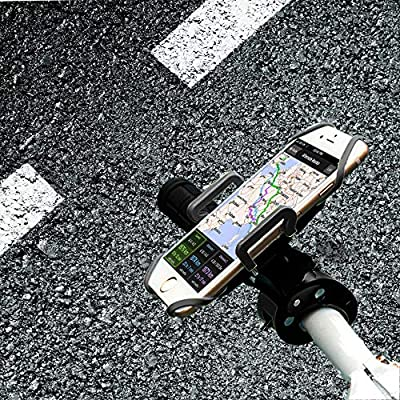 ihens5 Bike Mount, Bike Phone Mount Motorcycle Baby Carriage Bicycle Mic Stand Cell Phone Holder Cradle with Rubber Strap 360 Degree Rotate for iPhone X 7 6s Plus 5s 5SE Sony Samsung (Black)