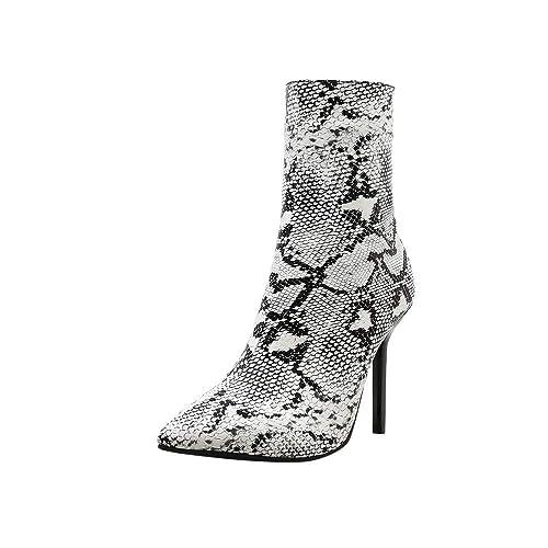 d835c334ab8c3 Botas tacón Aguja Alto cuña Mujer Invierno Moda 2018 PAOLIAN Botas  Militares de caño Medio Fiesta Botines Piel bajo Comodos Zapatos Cuero  Patrón Serpiente ...