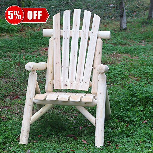(KdGarden Cedar/Fir Log Patio Wood Adirondack Chair Lifetime Lounge Adirondack Chairs for Adults Indoor and Outdoor Use, 250 LB Weight Capacity, Natural Finish)