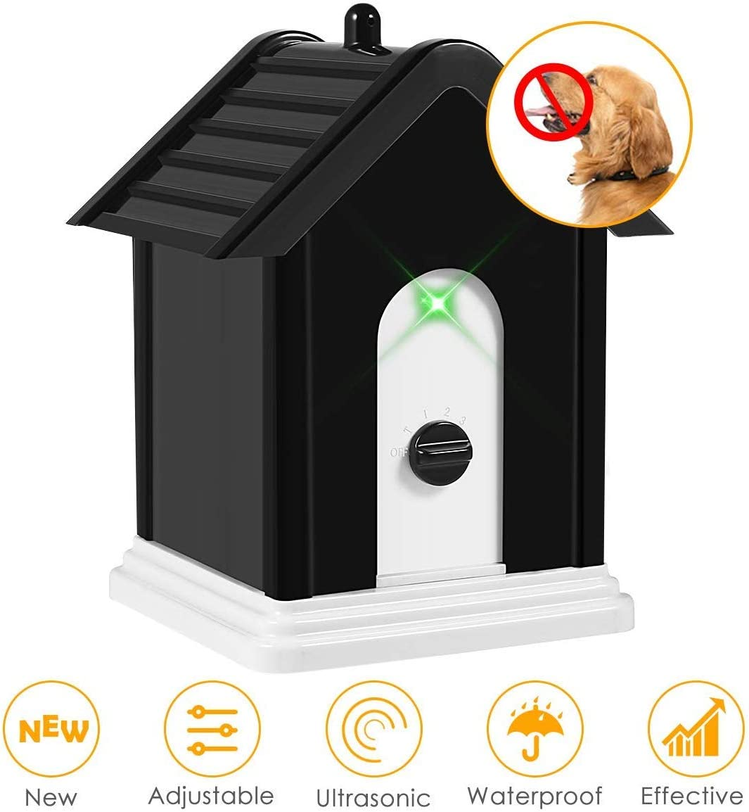 Geohee Anti Barking Device, 2019 Advanced Outdoor Dog Repellent Device Bark Box with Adjustable Ultrasonic Level Control Safe for Dogs, Bark Control Device, Sonic Bark Deterrents