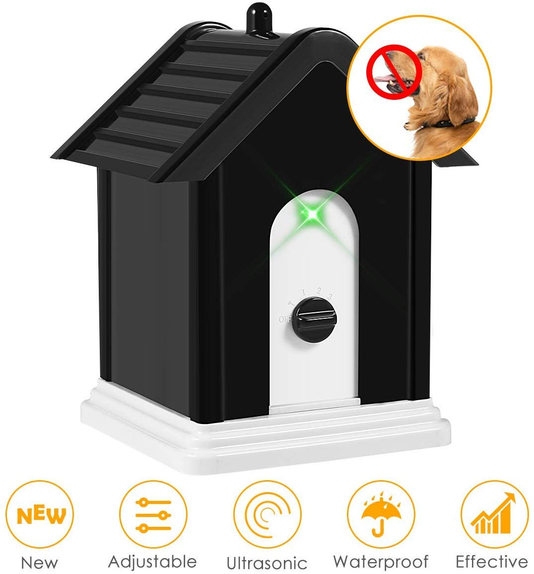 ELenest Anti Barking Device, 2019 Advanced Outdoor Dog Repellent Device Bark Box with Adjustable Ultrasonic Level Control Safe for Dogs, Bark Control Device, Sonic Bark Deterrents by ELenest