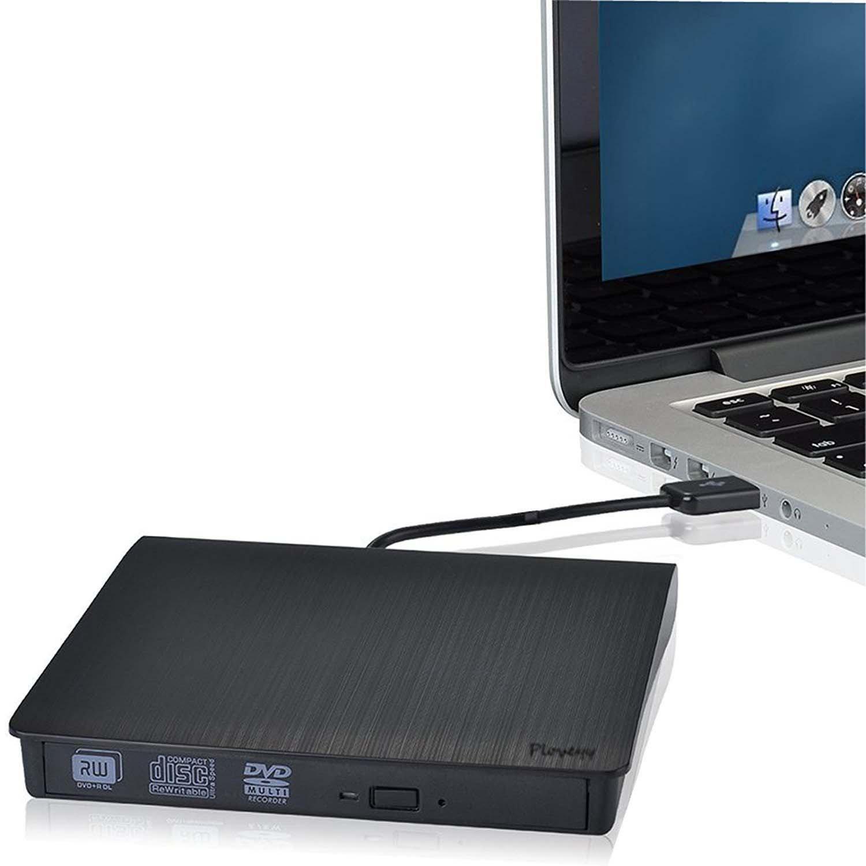 Ploveyy External DVD Writer, Portable Ultra Slim External USB 3.0 CD-RW/ DVD-RW Burner Writer External DVD Drive for Laptops Notebook Desktop PC (Black)