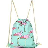 LingLingo Canvas Drawstring Backpack Travel Sackpack Bag Gym Outdoor Sports Portable Daypack for Girl Boys Woman