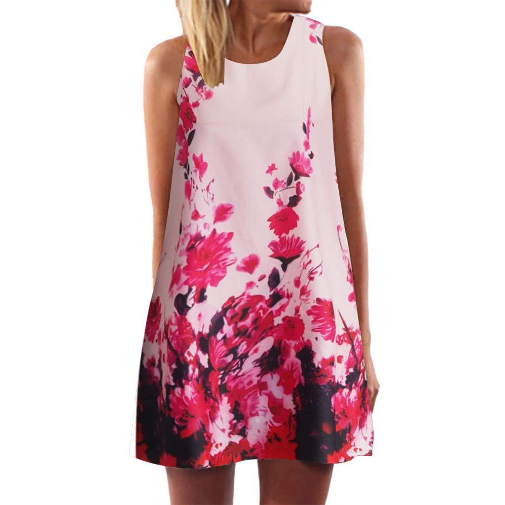 Kiasebu Womens Summer Sleeveless Beach Vintage Boho Printed Short Mini Dress Sleeveless Sundress Pink