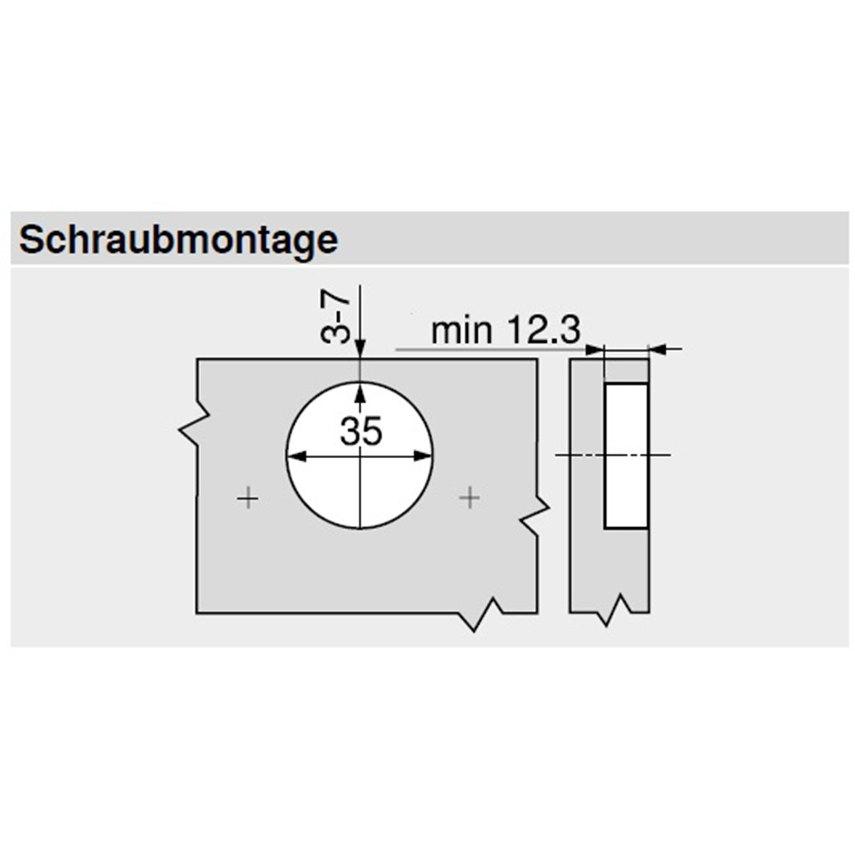 Schrauben und Montageanleitung M/öbelband; Eckanschlag 2 St/ück inkl BLUM Clip top Profilt/ür-Scharnier Montageplatten