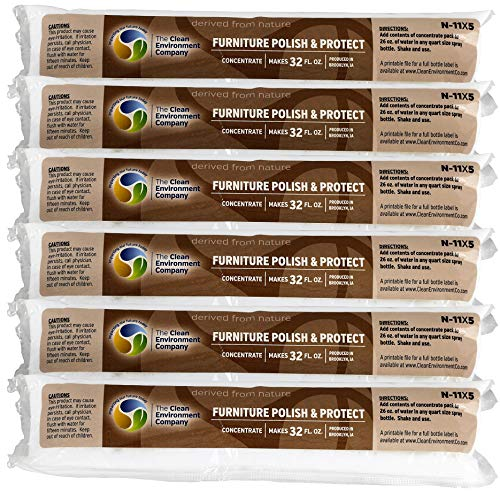 Natural Furniture Polish & Protect Concentrate 6 Pack - Each Makes 32 oz of Cleaner - Reduce Resoiling, Fingerprinting & Dust Collecting - Safe for Any Type of Furniture (Furniture Of Type)