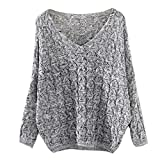 Clearance Sale ! Loose Sweater , Teresamoon Women Hollow Out Top Jumper Pullovers (Free Size, Grey)