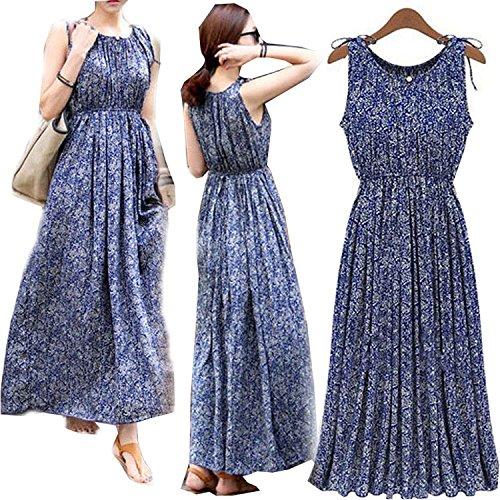 Forlisea Womens 2016 New Style Floral Pattern Sleeve Tie Maxi Dress, Blue, XX-Large (Cheap Fancy Dress Plus Size)