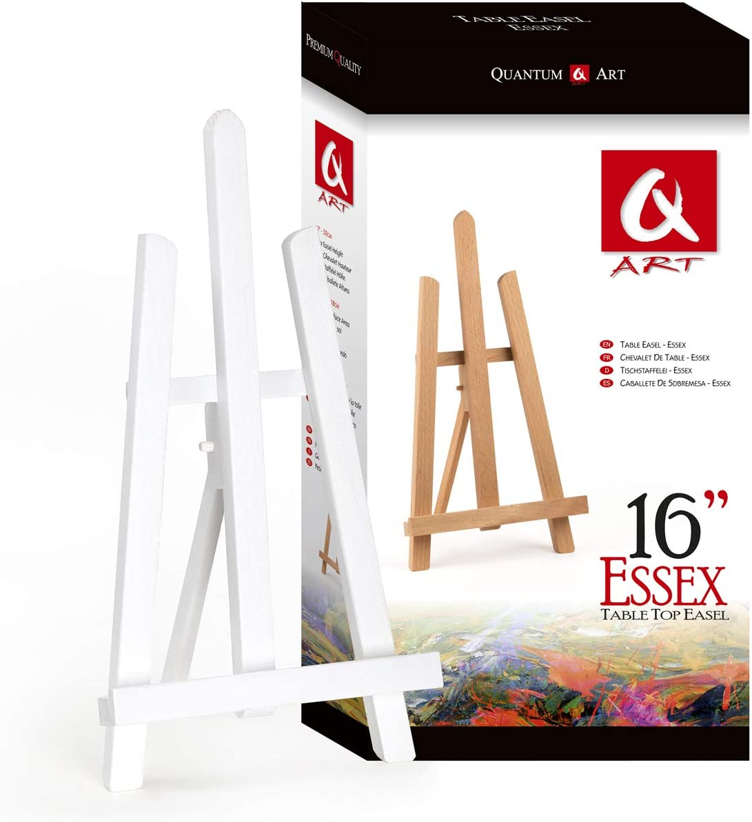 Beech Wood Quantum Art Essex Table Top Easel 600 mm-24-2 ft Brown