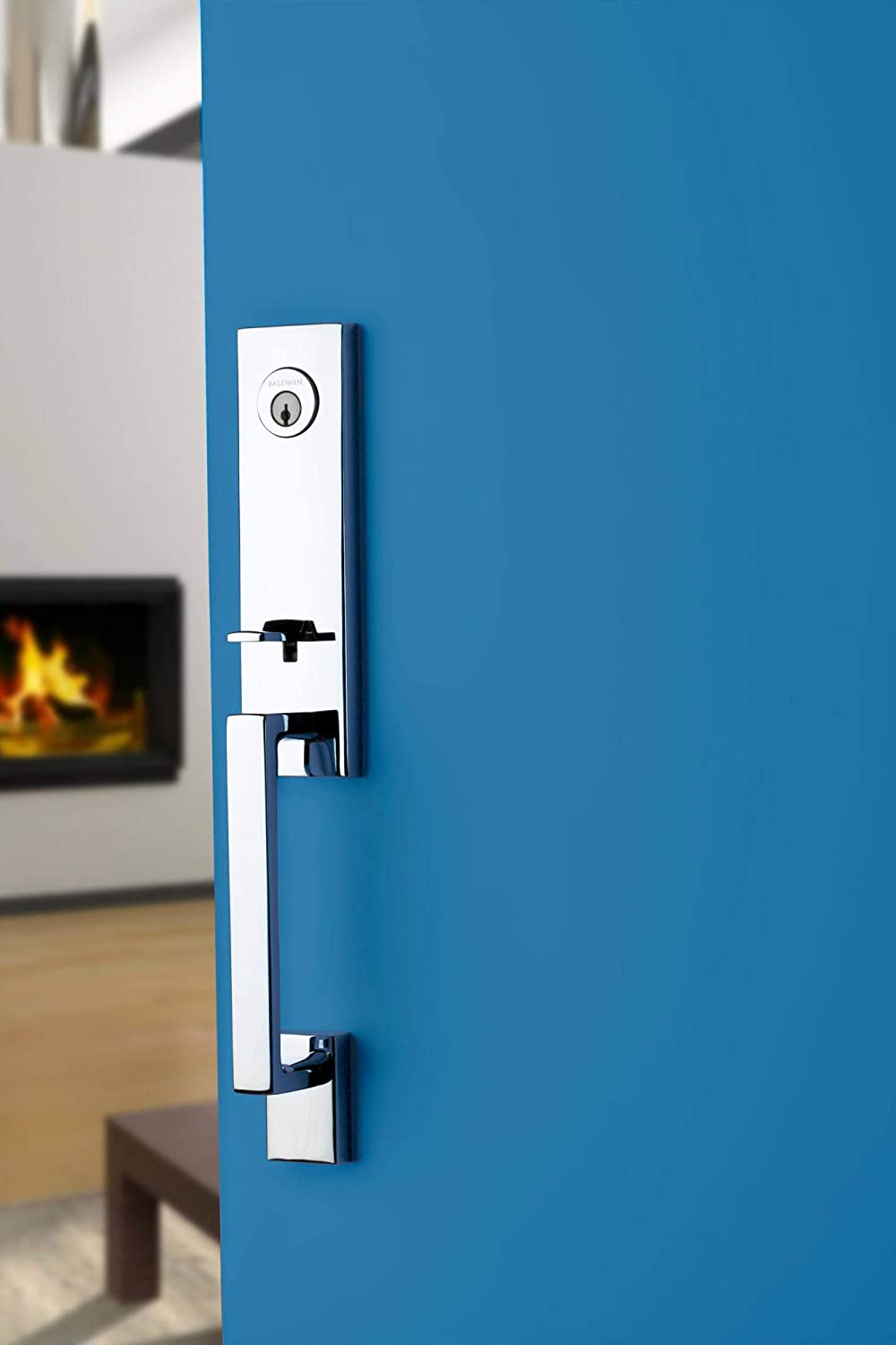 Baldwin Reserve SCSEAXSQULCSR150S Single Cylinder Seattle Handleset Left Hand Square Lever and Contemporary Square Rose with Smartkey Satin Nickel Finish