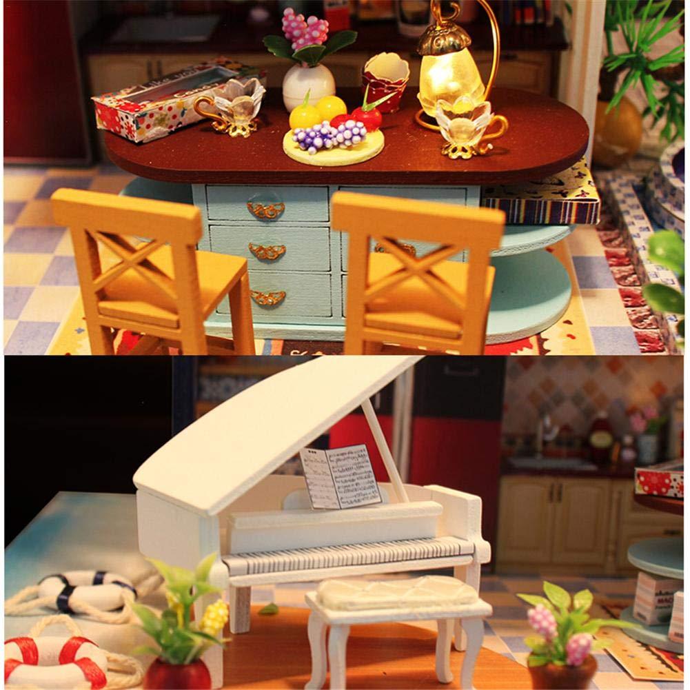 Puppenhaus Häuser Puppenhaus Diy Handgefertigtes Diy Puppenhaus Miniatur Puppen, Blau Sea Romance Theme, Jubiläumsgeschenk ohne transparenten Deckel und musikalische Bewegung 4b3026