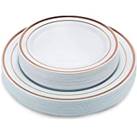 90 Pieces Gold Plastic Plates Includes: 60 Dinner Plates 10.25 Inch and 30 Salad/Dessert Plates 6.0 Inch