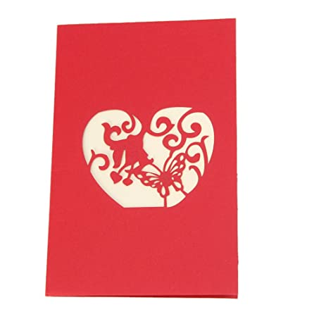 amazon com best topshop 3d love heart greeting card pop up paper
