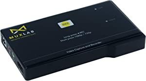 MuxLab Video Capture & Recorder | HDMI to USB Recorder | Capture Video at 1080p@60HZ and Save at 1080p@30Hz | HDCP Compliant