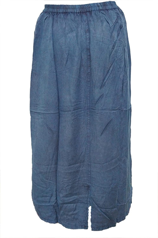 Mogul Interior Womens Bohemian Skirt Blue Embroidered Rayon Bohemian Gypsy