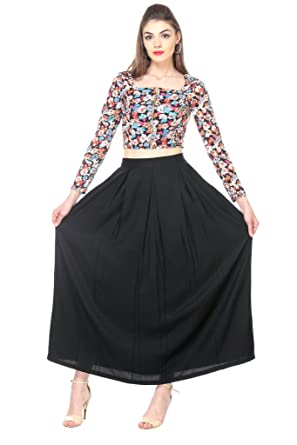 377a90b62e56 Zastraa Multi Floral Crop Top and Black Maxi Skirt Set ZSTRDRESS337-XS