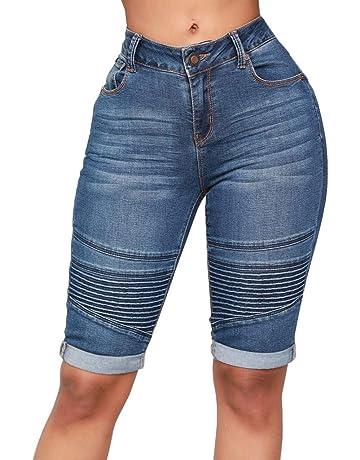 be24f57f299af Short Jeans Femme, Jeans Taille mi-Haute élastique avec Zip Skinny Denim au  Genou