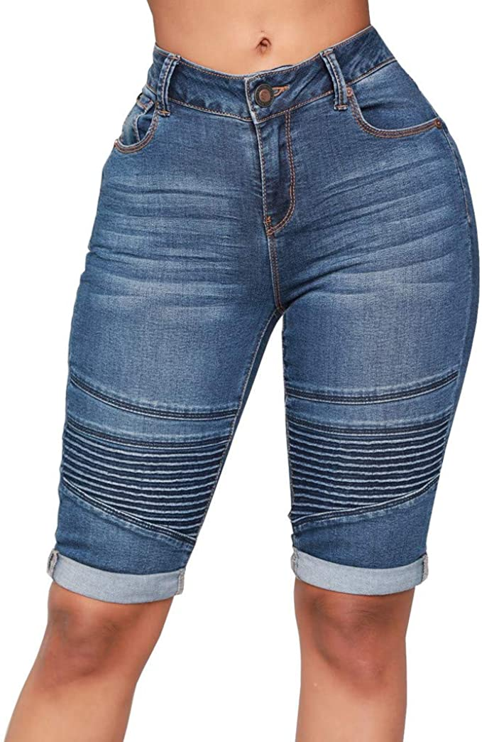 Women Denim Knee Length Shorts