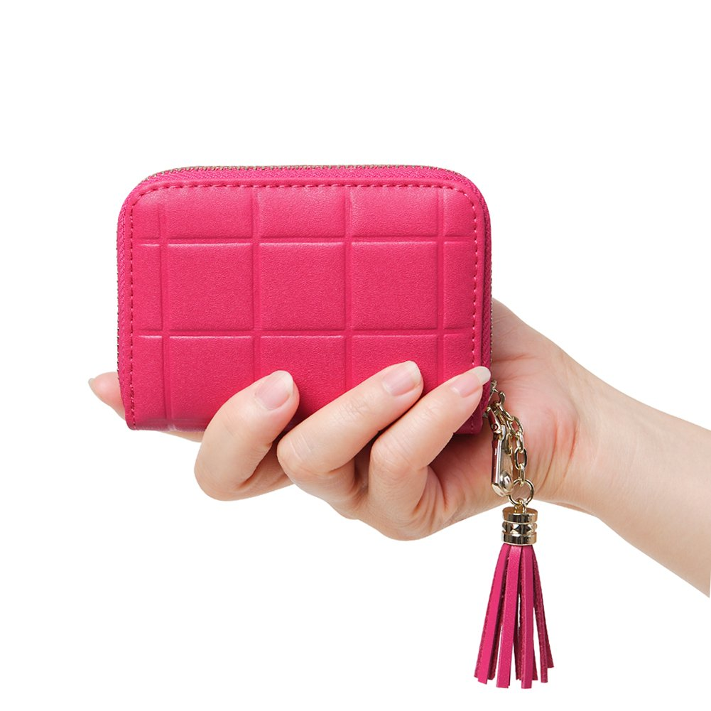 Women's RFID Blocking 15 Slots Card Holder Small Leather Accordion Wallet,Rose