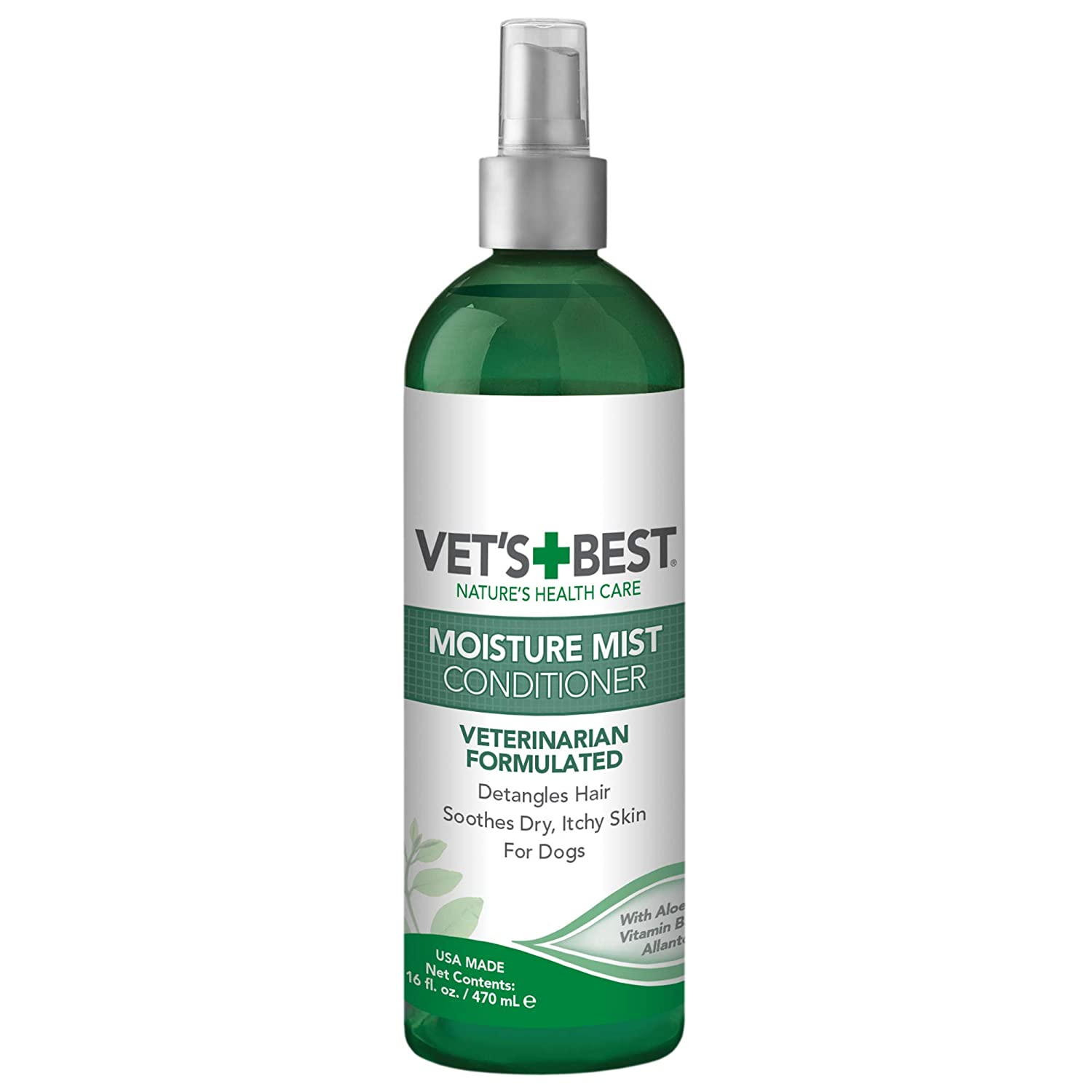 Vet's Best Moisture Mist Dog Dry Skin Conditioner| Dog Conditioner and Detangler Spray | Relieves Itchy Skin, Refreshes & Soothes | 16 oz