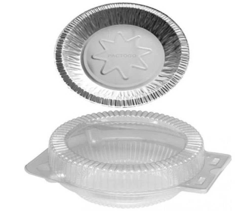8'' Aluminum Foil Pie Pan Plate Tin w/Clear OPS Plastic Clamshell 50 Sets