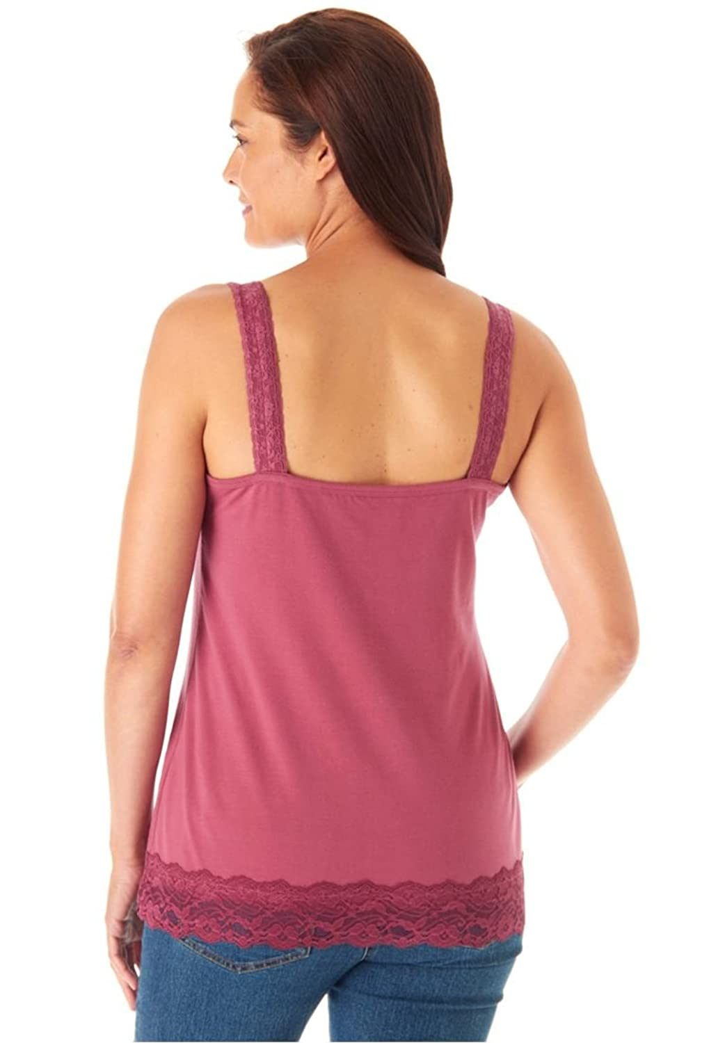 Women's Plus Size Tank Top In Soft Stretch Knit Is Trimmed In Feminine Lace