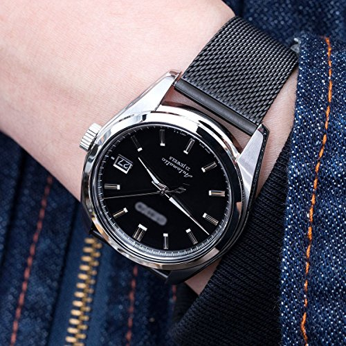 20mm Classic Vintage Knitted Superfine Wire Mesh Watch Band, PVD Black by MiLTAT (Image #1)