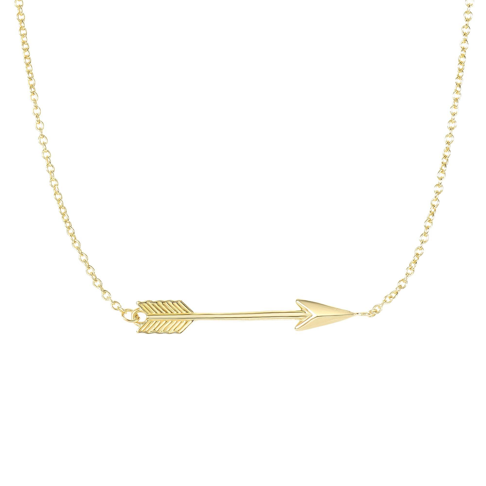 MCS Jewelry 14 Karat Yellow or White Gold Classic Love Arrow Horizontal Womens Pendant Necklace (17''-18'' (18, yellow-gold)