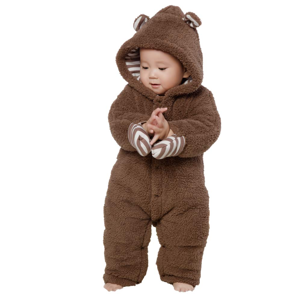 5bd23f13c mikistory Newborn Winter Baby Hoodie Infant Rompers Infant Outfits Onesies  Bodysuit Jumpsuits Brown 3-6Months
