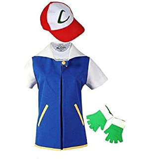 Amazon saianke costume hoodie cosplay jacket gloves hat sets adult kids ash ketchum cosplay costume jacket gloves hat set trainer halloween hoodie solutioingenieria Image collections